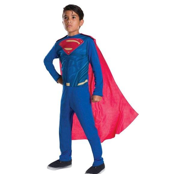 Boys SUPERMAN Jumpsuit Cape Costume Sz L 10/12 NWT